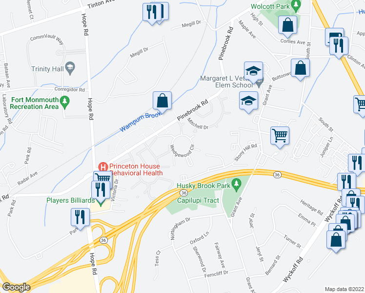 map of restaurants, bars, coffee shops, grocery stores, and more near 158 Wedgewood Circle in Eatontown