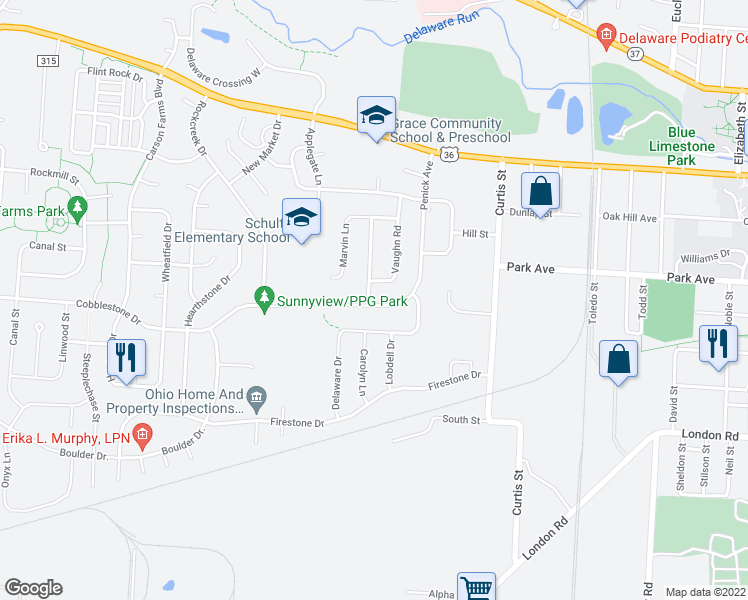 map of restaurants, bars, coffee shops, grocery stores, and more near 226 Penick Avenue in Delaware