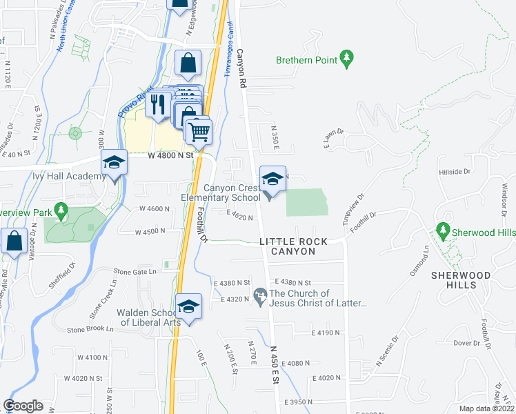 map of restaurants, bars, coffee shops, grocery stores, and more near 253 East 4620 North in Provo