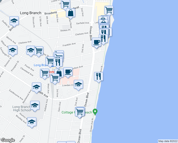 map of restaurants, bars, coffee shops, grocery stores, and more near 336 Ocean Boulevard in Long Branch