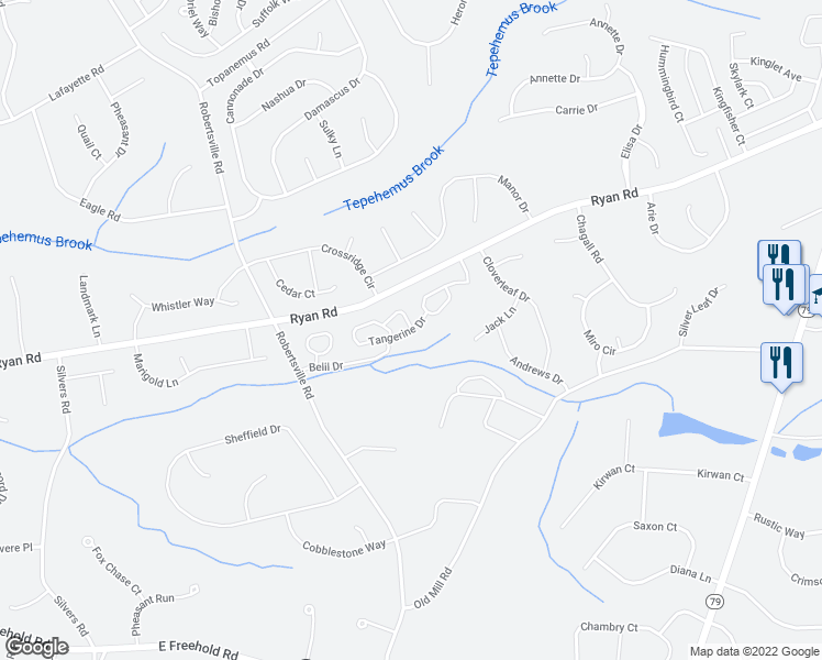 map of restaurants, bars, coffee shops, grocery stores, and more near 143 Tangerine Drive in Marlboro Township