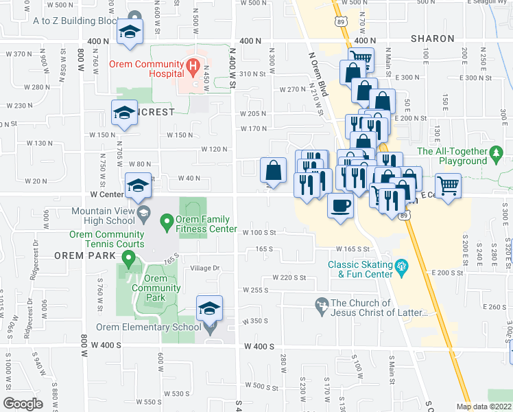 map of restaurants, bars, coffee shops, grocery stores, and more near 325 West Center Street in Orem