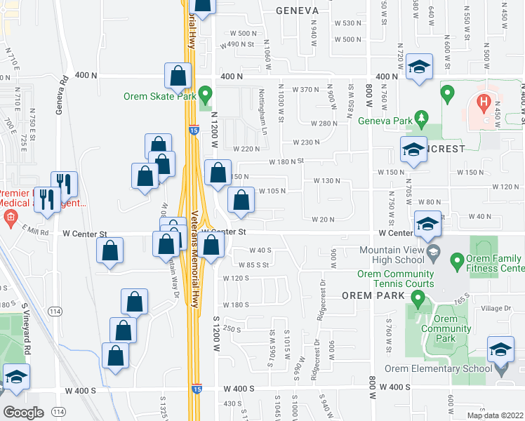 map of restaurants, bars, coffee shops, grocery stores, and more near 1042 West Center Street in Orem