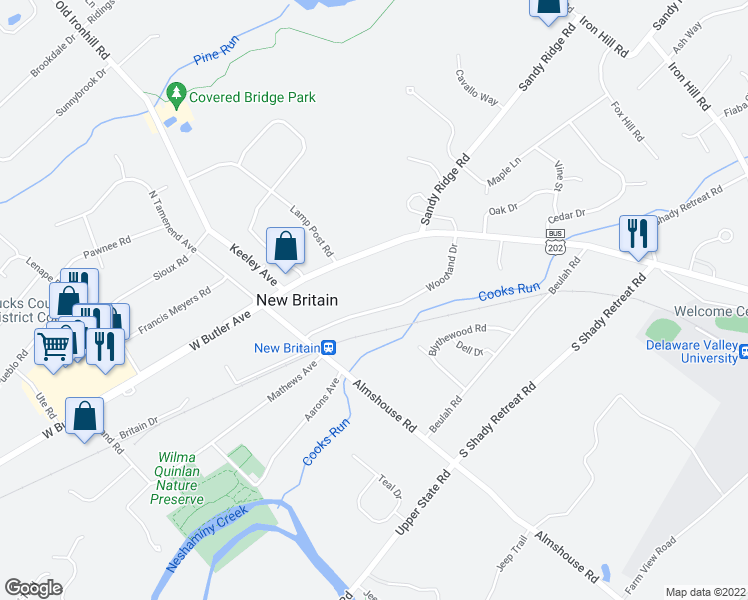 map of restaurants, bars, coffee shops, grocery stores, and more near 128 Woodland Drive in Doylestown