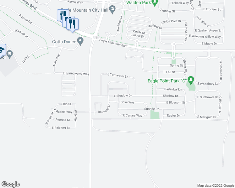 map of restaurants, bars, coffee shops, grocery stores, and more near 1689 East Shadow Drive in Eagle Mountain