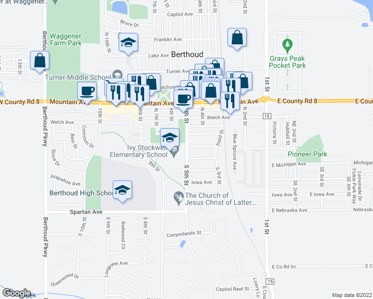 map of restaurants, bars, coffee shops, grocery stores, and more near 100-198 N 5th St in Berthoud