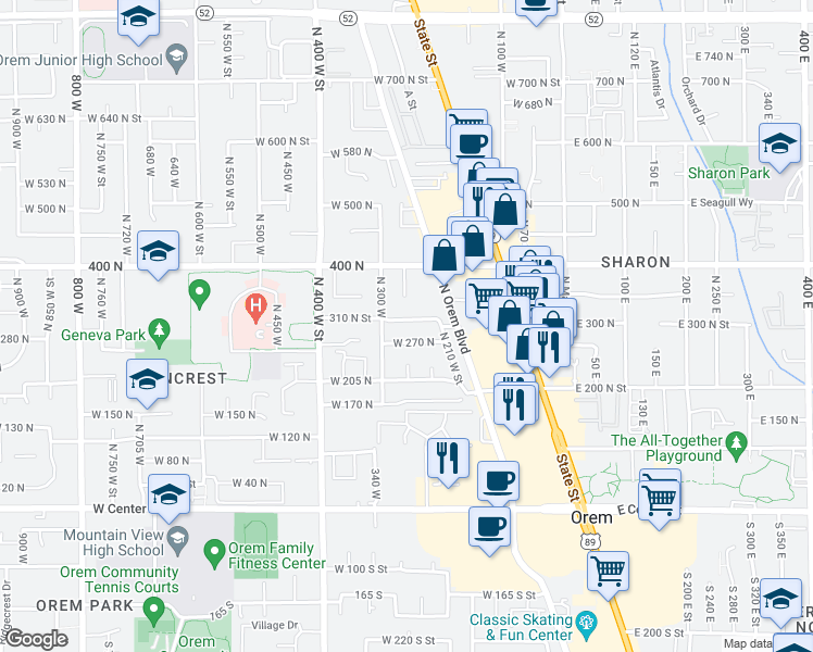 map of restaurants, bars, coffee shops, grocery stores, and more near 263 West 310 North in Orem