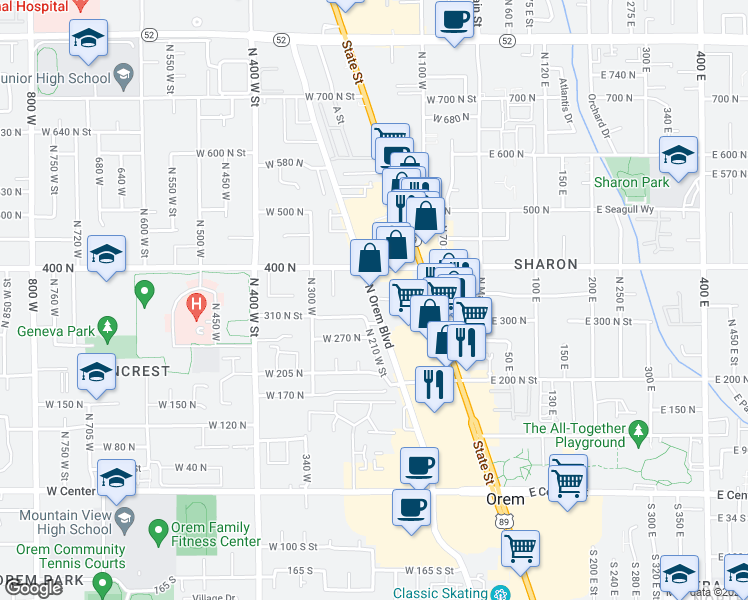 map of restaurants, bars, coffee shops, grocery stores, and more near Orem Boulevard in Orem