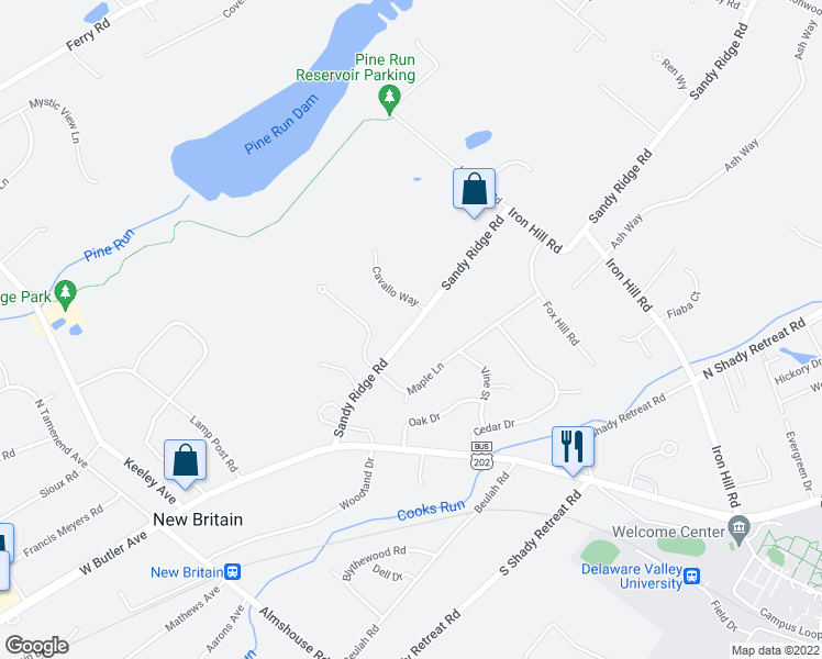 map of restaurants, bars, coffee shops, grocery stores, and more near West Sandy Ridge Road in New Britain