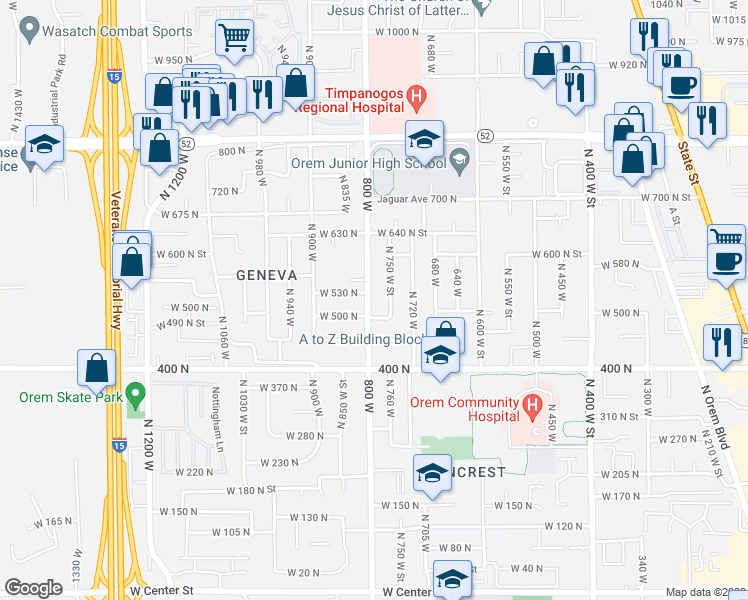 map of restaurants, bars, coffee shops, grocery stores, and more near 518 North 800 West in Orem