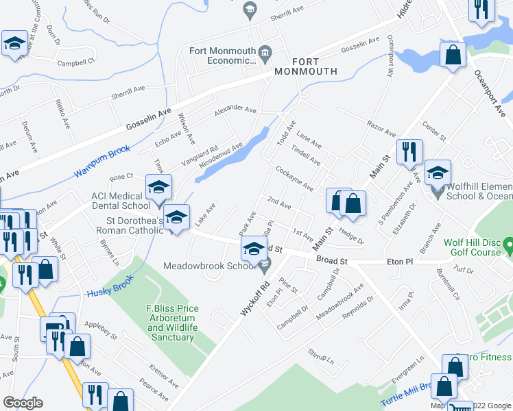 map of restaurants, bars, coffee shops, grocery stores, and more near Park Avenue in Eatontown