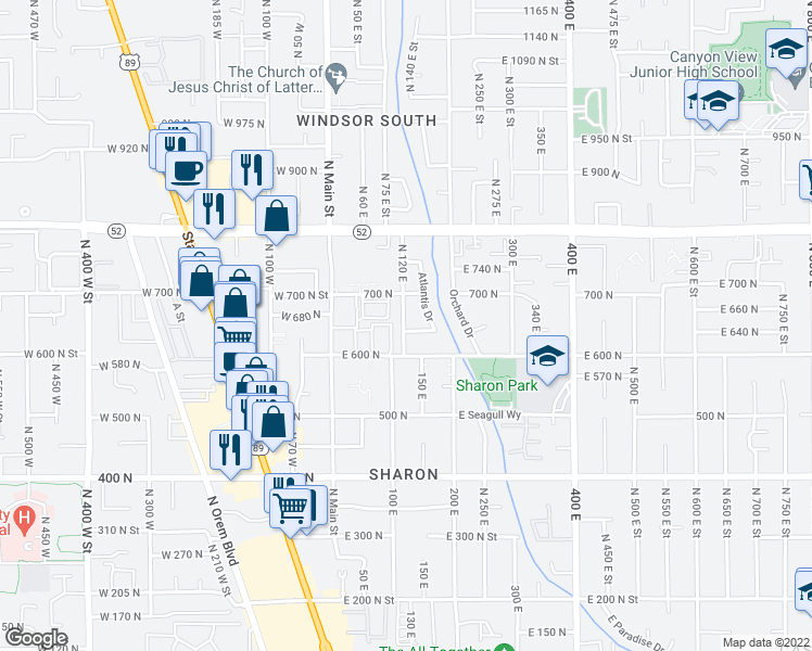 map of restaurants, bars, coffee shops, grocery stores, and more near 107 East 630 North in Orem