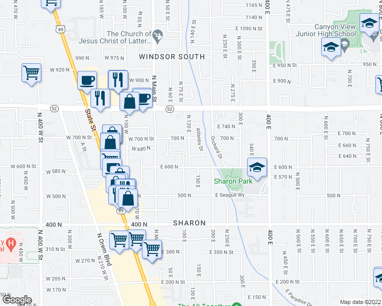map of restaurants, bars, coffee shops, grocery stores, and more near 109 East 630 North in Orem