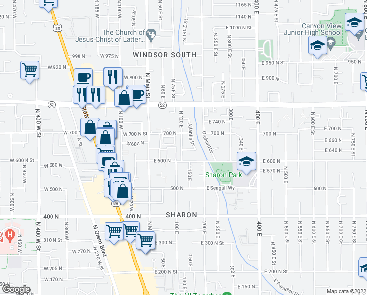map of restaurants, bars, coffee shops, grocery stores, and more near 113 East 630 North in Orem