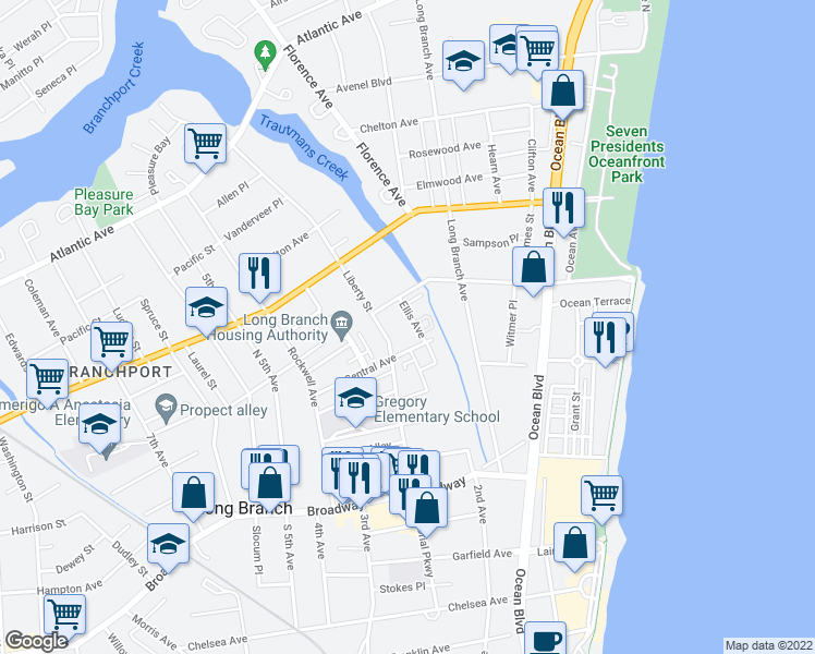 map of restaurants, bars, coffee shops, grocery stores, and more near 14 Ellis Avenue in Long Branch