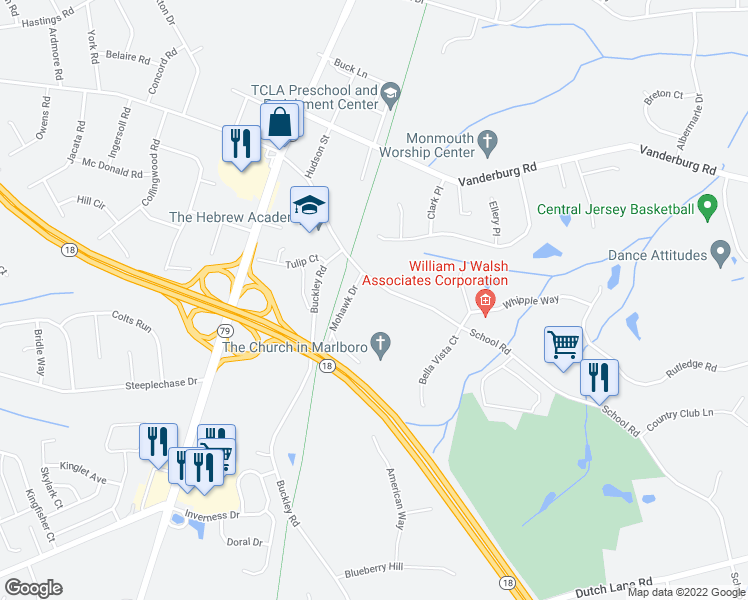 map of restaurants, bars, coffee shops, grocery stores, and more near 34 School Road in Marlboro Township