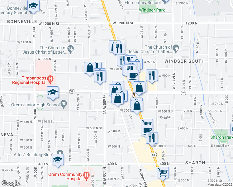 map of restaurants, bars, coffee shops, grocery stores, and more near 1235 North Orem Boulevard in Orem