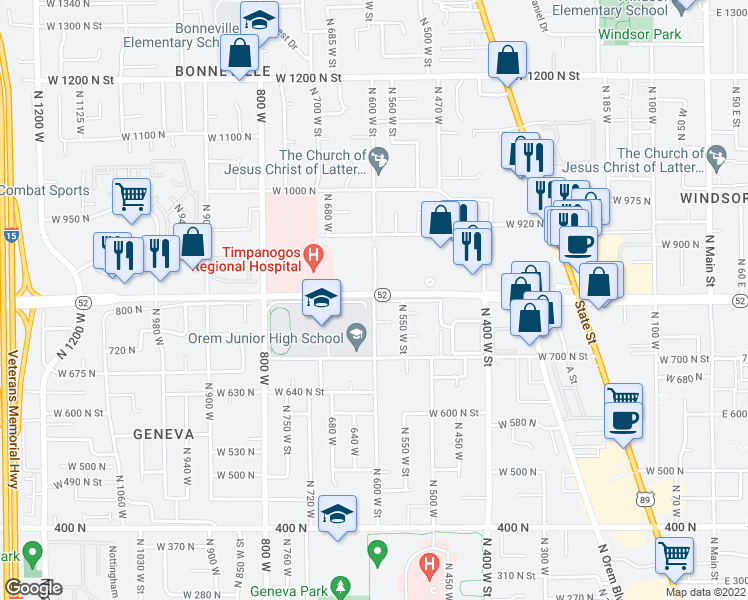 map of restaurants, bars, coffee shops, grocery stores, and more near 700-798 West 800 North in Orem