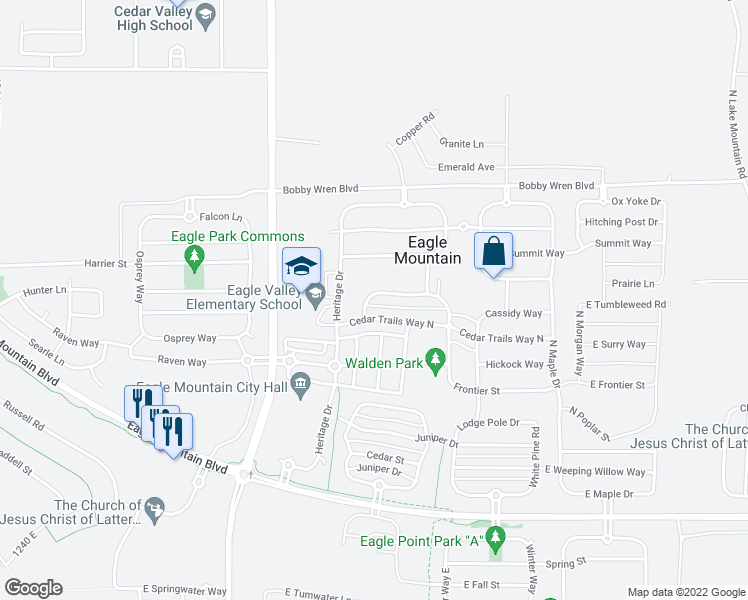 map of restaurants, bars, coffee shops, grocery stores, and more near 8188 North Boulder Street in Eagle Mountain