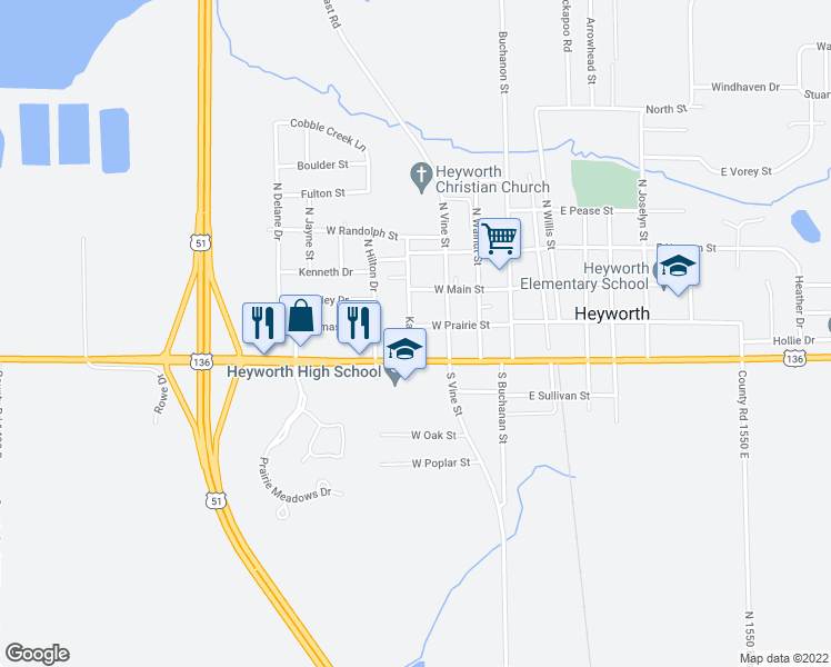 map of restaurants, bars, coffee shops, grocery stores, and more near 310 West Prairie Street in Heyworth