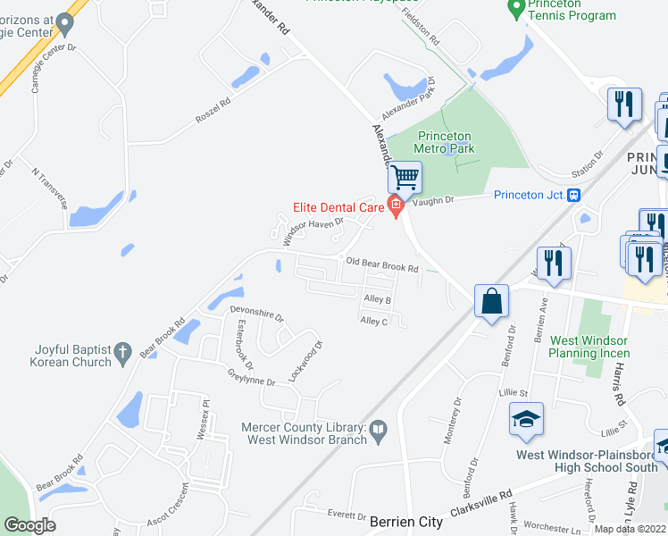 map of restaurants, bars, coffee shops, grocery stores, and more near 3000 Goldfinch Boulevard in Princeton