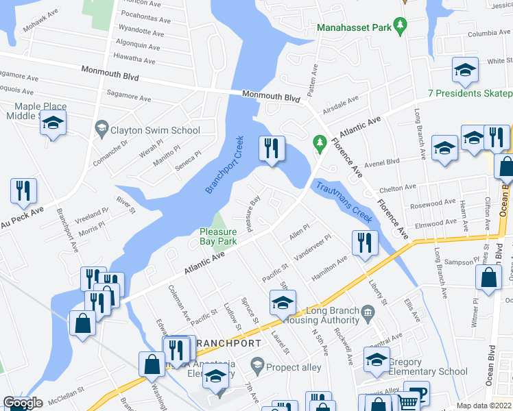 map of restaurants, bars, coffee shops, grocery stores, and more near 245 Atlantic Avenue in Long Branch