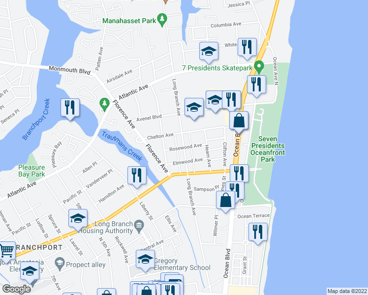 map of restaurants, bars, coffee shops, grocery stores, and more near Long Branch Avenue in Long Branch
