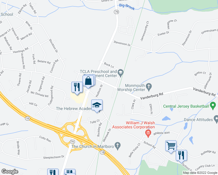 map of restaurants, bars, coffee shops, grocery stores, and more near 18 Vanderburg Road in Marlboro Township