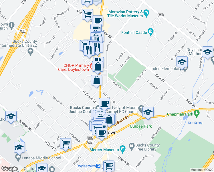 map of restaurants, bars, coffee shops, grocery stores, and more near 32 Lacey Avenue in Doylestown