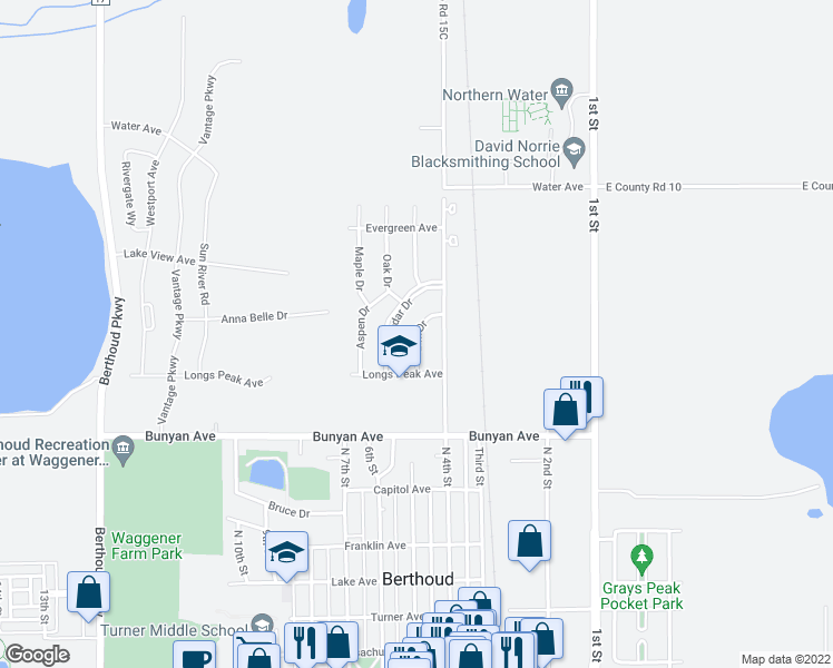 map of restaurants, bars, coffee shops, grocery stores, and more near Elm Drive in Berthoud