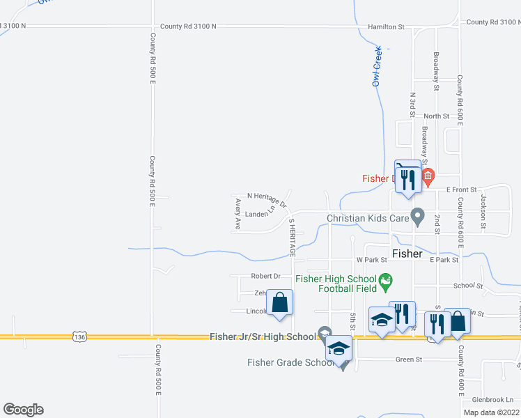 map of restaurants, bars, coffee shops, grocery stores, and more near 508 Landen Lane in Fisher