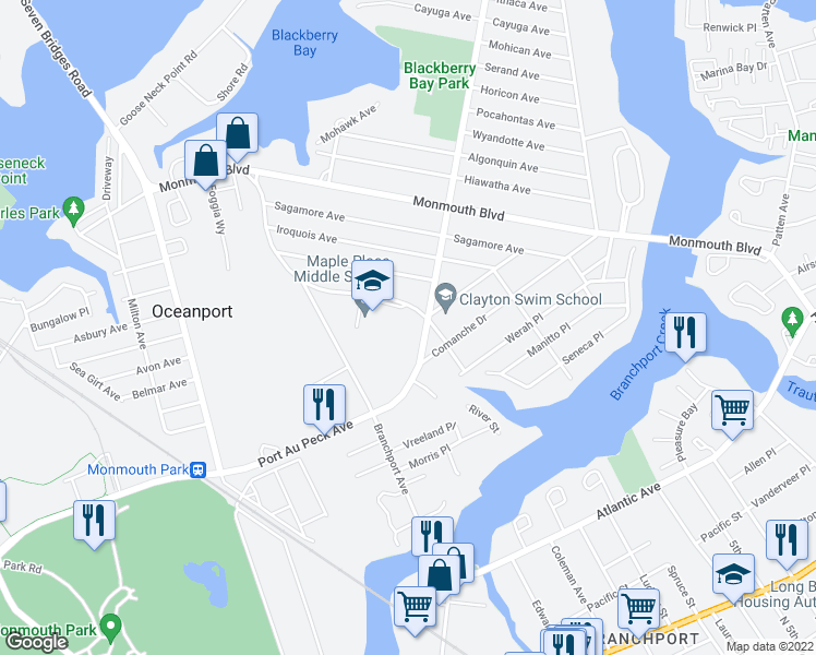map of restaurants, bars, coffee shops, grocery stores, and more near 335 Port Au Peck Avenue in Oceanport
