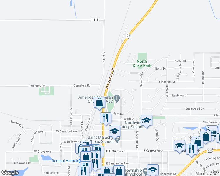 map of restaurants, bars, coffee shops, grocery stores, and more near 712 Eden Park Drive in Rantoul