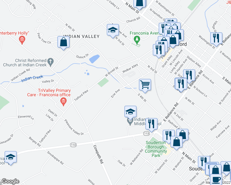 map of restaurants, bars, coffee shops, grocery stores, and more near Erie Avenue in Telford