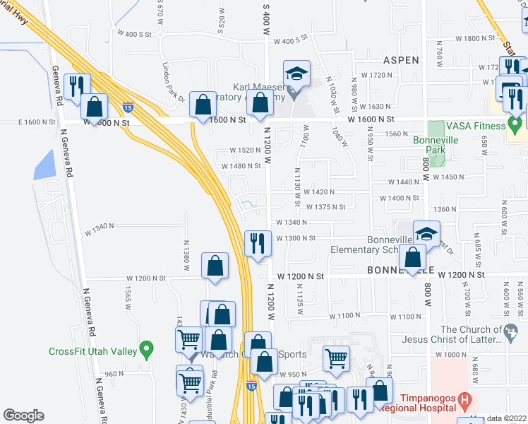 map of restaurants, bars, coffee shops, grocery stores, and more near 1360 North 1230 West in Orem