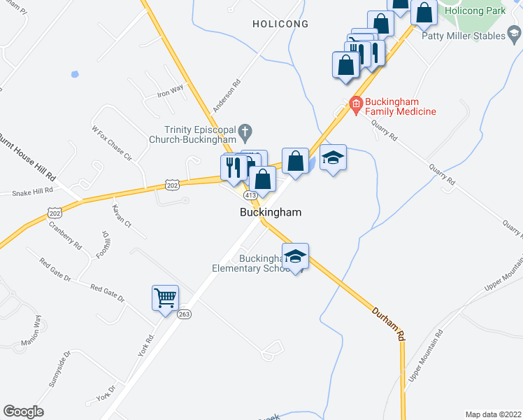 map of restaurants, bars, coffee shops, grocery stores, and more near 4723 York Road in Buckingham