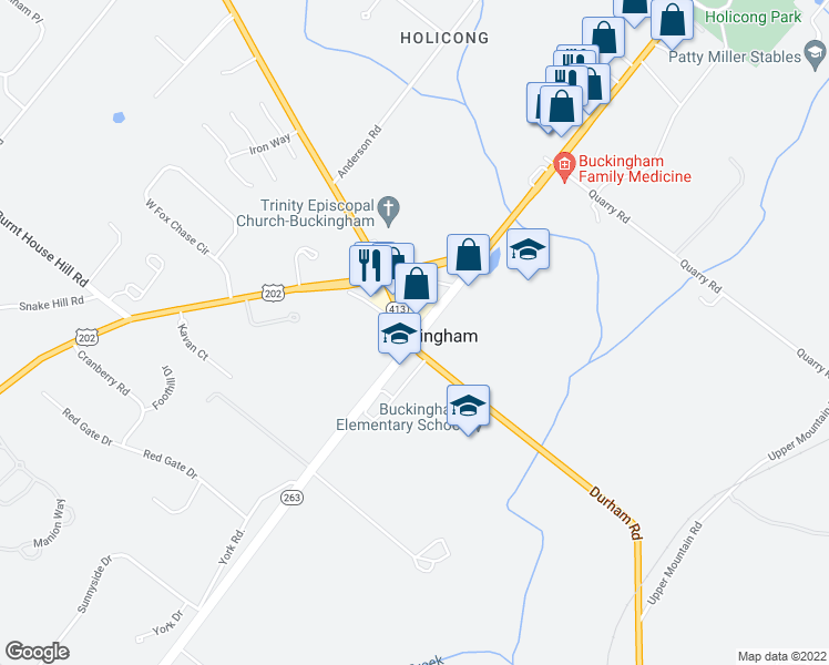 map of restaurants, bars, coffee shops, grocery stores, and more near York Road in Buckingham