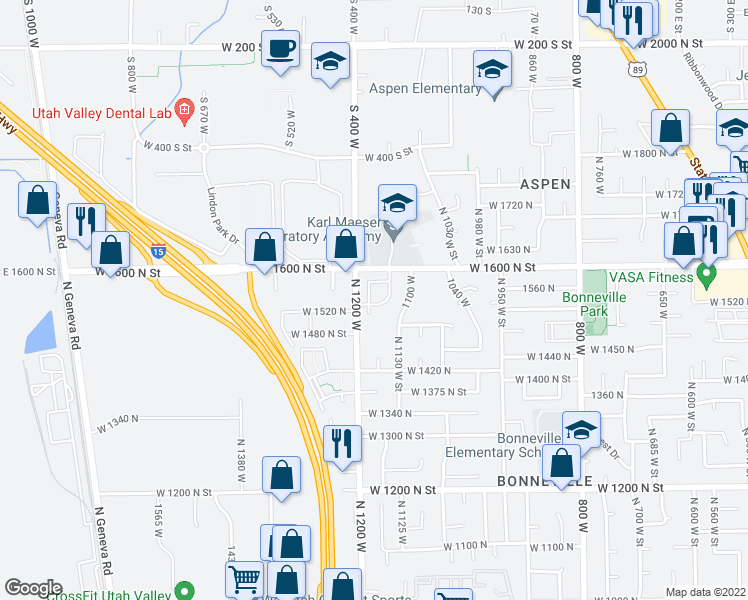 map of restaurants, bars, coffee shops, grocery stores, and more near 1552 1180 West in Orem