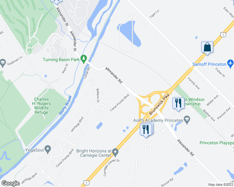 map of restaurants, bars, coffee shops, grocery stores, and more near 13 Glenview Drive in Princeton