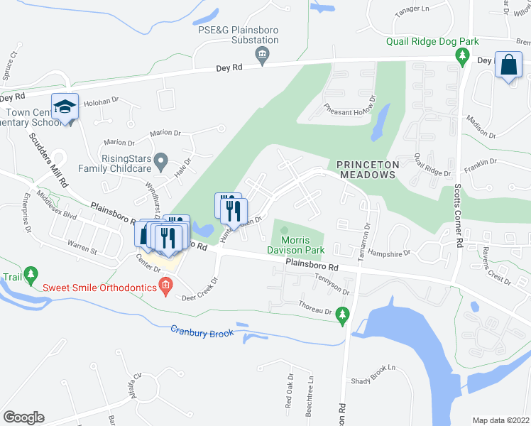 map of restaurants, bars, coffee shops, grocery stores, and more near 8731-8733 Hunters Glen Drive in Princeton Meadows