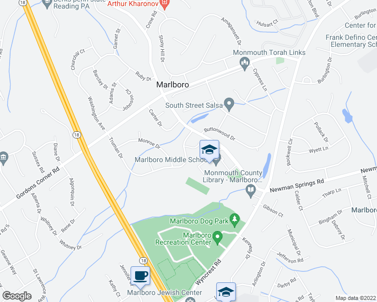 map of restaurants, bars, coffee shops, grocery stores, and more near 9 Truman Drive in Marlboro Township