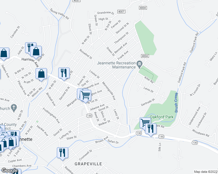 map of restaurants, bars, coffee shops, grocery stores, and more near Arlington Avenue in Jeannette