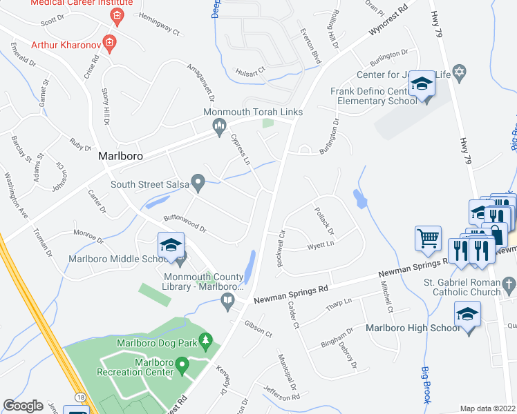 map of restaurants, bars, coffee shops, grocery stores, and more near 46 Buttonwood Drive in Marlboro Township