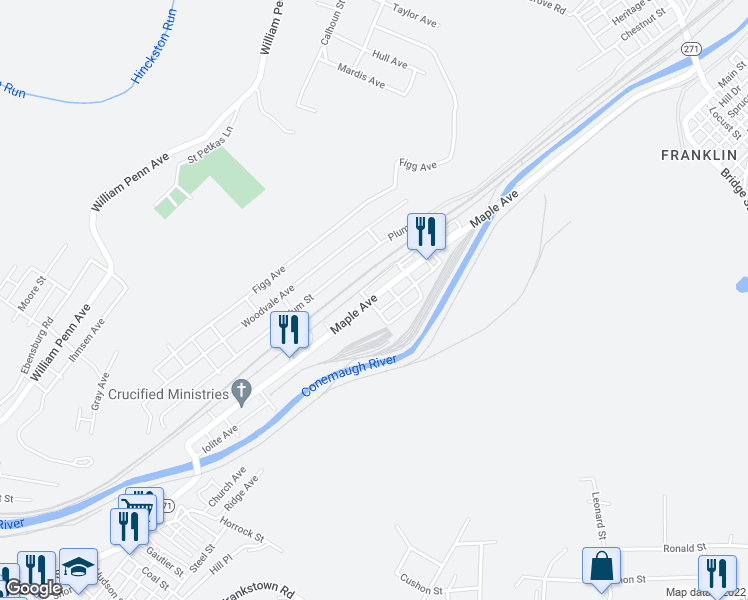 map of restaurants, bars, coffee shops, grocery stores, and more near Maple Avenue in Johnstown