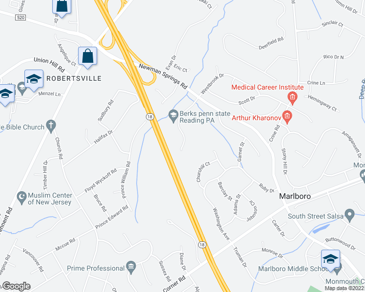 map of restaurants, bars, coffee shops, grocery stores, and more near 138 Valesi Drive in Marlboro Township