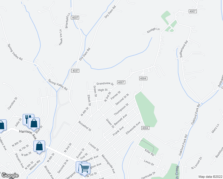 map of restaurants, bars, coffee shops, grocery stores, and more near High Street in Jeannette