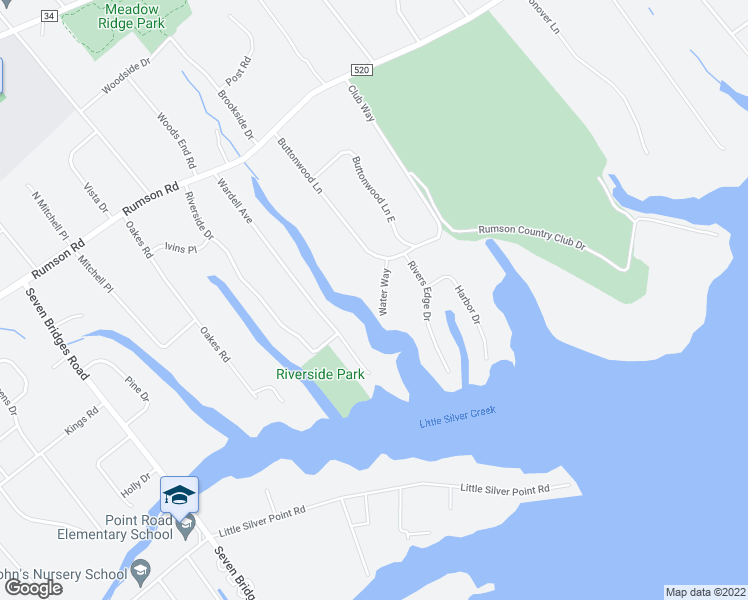 map of restaurants, bars, coffee shops, grocery stores, and more near 2 Water Way in Rumson