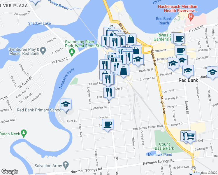 map of restaurants, bars, coffee shops, grocery stores, and more near 135 Shrewsbury Ave in Red Bank