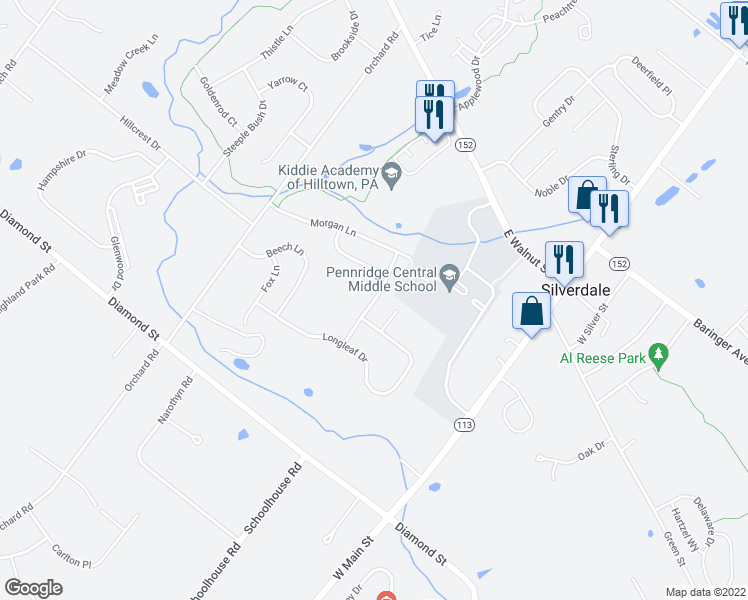 map of restaurants, bars, coffee shops, grocery stores, and more near Victoria Lane in Perkasie