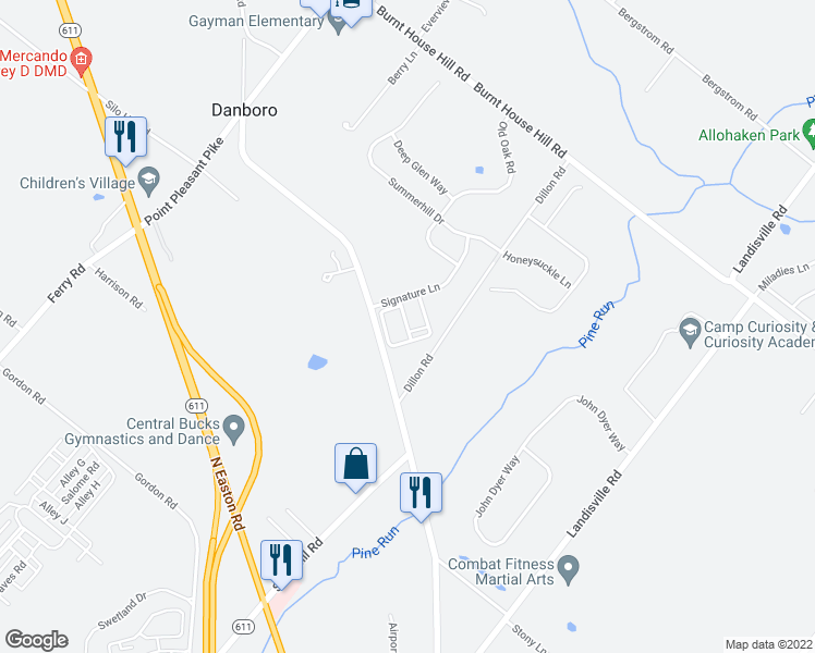 map of restaurants, bars, coffee shops, grocery stores, and more near 4087 Redbud Circle in Doylestown